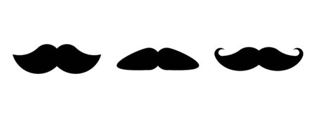 Set of different moustaches. Black mustache belongs to community of men.