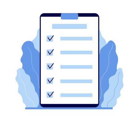 Clipboard with checklist. Plan, register information. Marked checklist on a clipboard paper. Successful completion of business tasks, goals. Vector 矢量图像