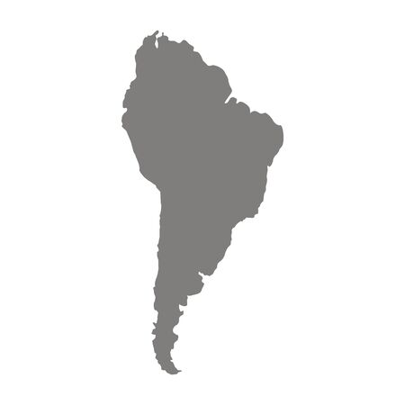 South Latin America. Abstract continent silhouette map. Grey background region. Vector Ilustração
