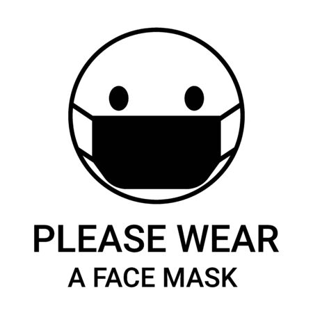 Please wear a face mask, sign. Head people with respirator protective mask on their faces. Personal protection in hazardous locations. Vector illustration