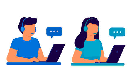 Customer service. Man and woman operator call center with headphones and microphone with laptop. Support, assistance, call center, hot line, help, response, consultation. Vector illustration