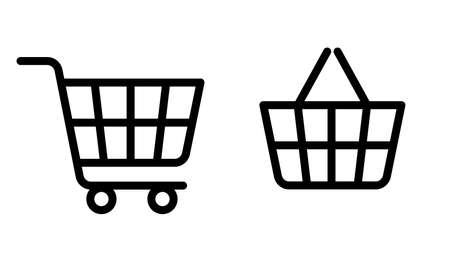 Shopping cart line icon. Online shopping in store. Big and small bag, trolley shopping cart business concept. Vector on white background.