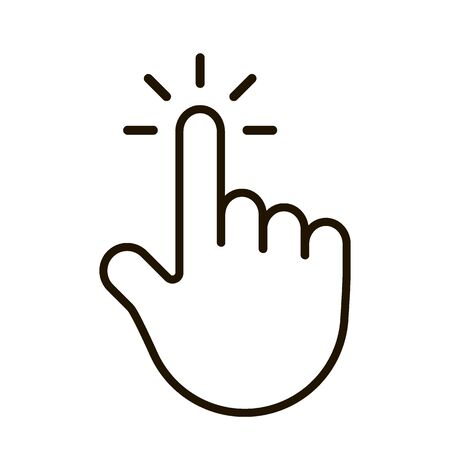 Hand pointer, editable icon. Cursor sign with finger, click. Vector on white background