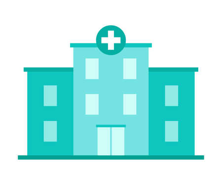 Hospital building for treatment. Medical institution, clinic. House of Disease Care. Vector illustration Stock Illustratie