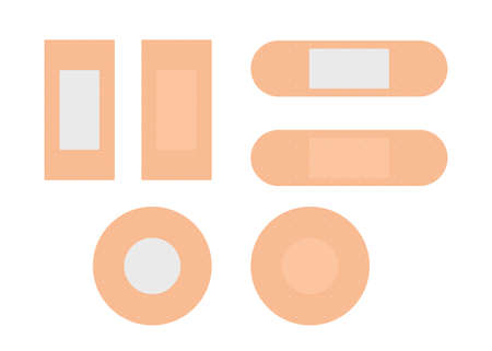 Medical plaster, aids. Elastic sticker medical plasters. Dressing plasters, wound cross plastering band and bandage plasterers. Set aid bandages different forms, treatment aids. Vector