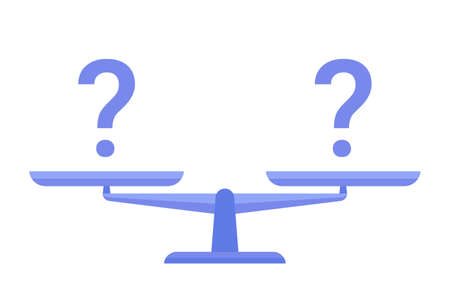 Bowls of scales in balance with question mark. Libra, empty scales. Justice, law, decision, measurement, punishment concept Vector illustration isolated