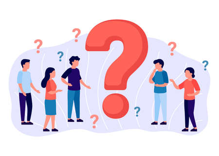 Frequently asked questions, group people around question marks. Abstract man and woman ask, need help. Faq concept. Vector Banque d'images - 150863686