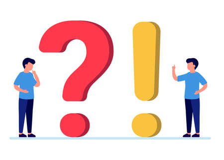 Frequently asked questions, man people with question and exclamation marks. Abstract man ask, need help, answer. Faq concept. Vector Imagens - 151067173