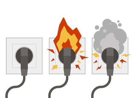 Fire wiring. Electric circuit of cable with fire, smoke, sparks. Sockets with cords. Socket and plug on fire from overload. Short circuit electrical circuit. Broken electrical connection. Vector