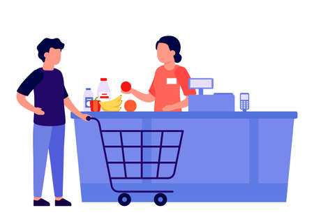 Purchase of goods at checkout counter. Man buys groceries in store. Retail food, shop, market. Basket for buyer with food. Vector flat illustration