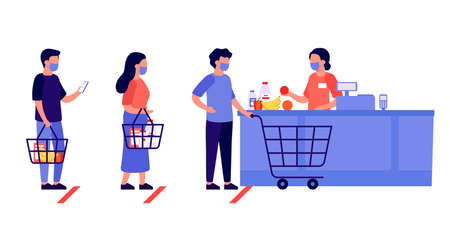 People shopping, queue. Social distancing in shop. Supermarket store counter cashier and buyers in protective masks, with cart and basket of food. Customers at checkout counter. Shop retail. Vector
