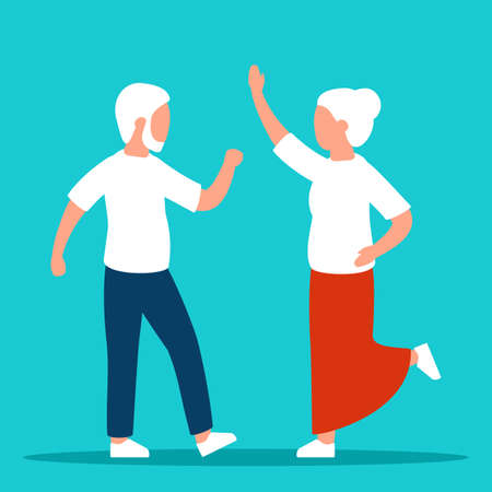 Old seniors are happy. Happy elderly retired couple man and woman. Relax, dance, enjoy. Vector flat illustration Illustration
