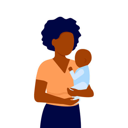 Abstract black young mother and baby son. Woman holds child in his arms. Family communication. Mother s day. Vector on white background