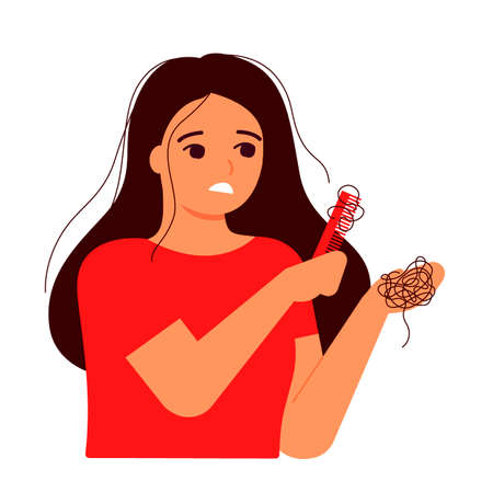 Girl combs her hair, hair on comb, fall. Hair loss, baldness, alopecia concept. Woman s thin hair is associated with problem, stress, hormones, nutrition. Vector flat illustration