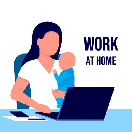 Mother with child working laptop at home. Working on maternity leave with baby in her arms. Combining motherhood and career. Vector illustration