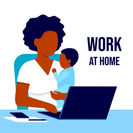 Mother african american black with child working laptop at home. Working on maternity leave with baby in her arms. Combining motherhood and career. Vector illustration