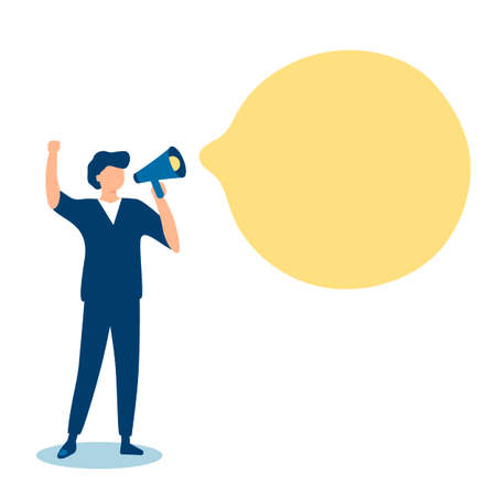 Businessman communicates through megaphone. Announcement, information, notification. Message business people with speach bubble. Vector illustration