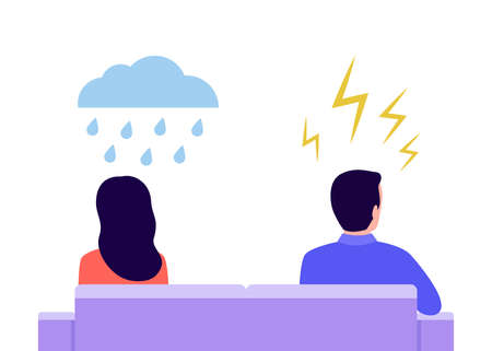 Angry man and offended cry woman in quarrel. Couple sit back to back. Problems partners in relationship, misunderstanding, conflict. Husband and wife at odds. Concept of divorce, crisis. Vector flat