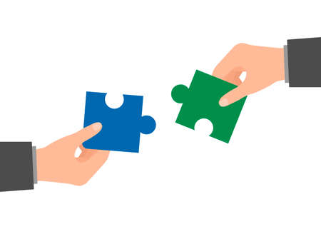 People assembling piece puzzle. Coworking and business partnership man together concept. Team metaphor. Symbol of teamwork, cooperation, partnership, team building. Vector Illustration