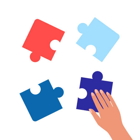 Human hand connects pieces of puzzle. Combining or separating parts of whole. System elements, solving problem from parts. Thinking, strategy, challenge concept. Vector Illustration