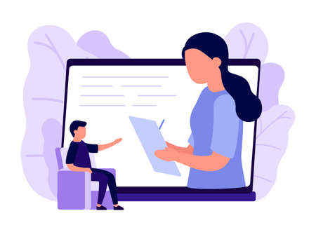 Online psychological counseling on internet. Business remote video communication on laptop. Assistance service, secretary. Psychological help, psychotherapy, consulting patient. Solving problem.Vector