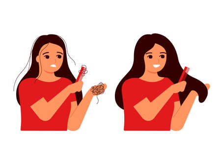 Girl combs her hair, hair on comb, fall. Hair loss, baldness, fragility, alopecia concept. Hair before and after. Woman s thin hair is associated with problem, stress, hormones, nutrition. Vector