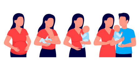 Pregnancy woman, breastfeeding, mother feeding newborn baby with breast in hands. Expectant mother, motherhood. Child boy drinks milk from the female breast. Happy family. Vector