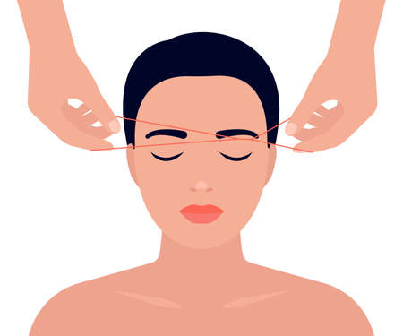 Eyebrow shaping with thread. Removing excess facial hair. Woman face and hands with thread. Hair removal procedure, threading. Vector illustration