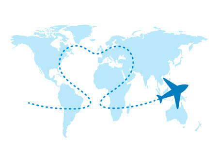World map and plane flight. Airplane flying and leave dashed trace line. Love travel concept. Airplane path with heart shaped trail line. Vector illustration