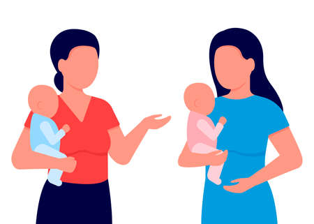 Communication of young mothers with babies in their arms. Women discuss children, share experiences, advise. Young mothers club. Vector illustration on white background