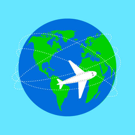 World map and plane flight. Planet and trajectory, flight path. Airplane flies and leaves dashed trail line. Love travel concept. Airplane track line. Vector illustration. Illustration