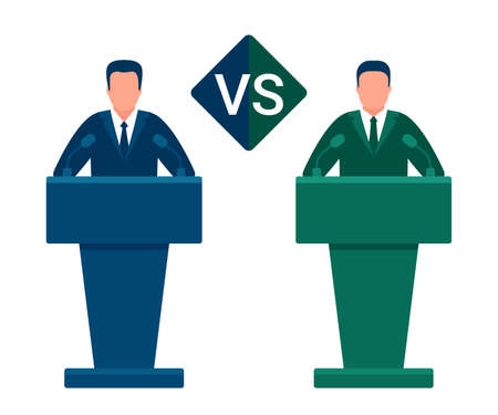 Battle of team leaders, fight of opponents. Comparison vs, versus. Man in conference suit on podium, tribune. Speech by people leader. Presidential debate, political elections. Vector illustration