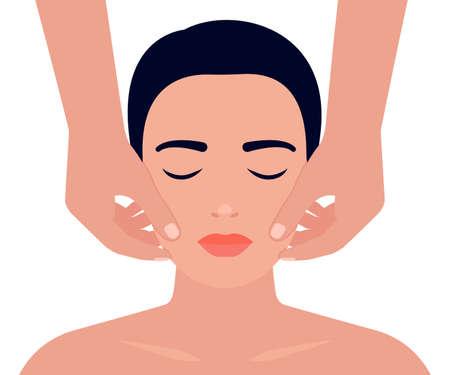 Woman face massage. Facial skin care.