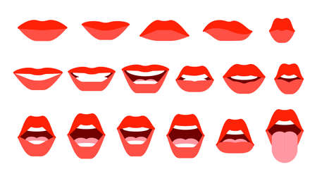 Set of mouth expressions on woman face. Closed and open mouth. Red lips, a smile, shiny teeth, protruding tongue. Communication, conversation concept. Vector illustration