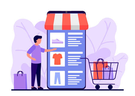 Retail, shop to online. Smartphone app for shopping goods. Man makes purchases via phone online, choosing product. Shopping cart for buyer with clothes and shoes. E-commerce on smartphone. Vector