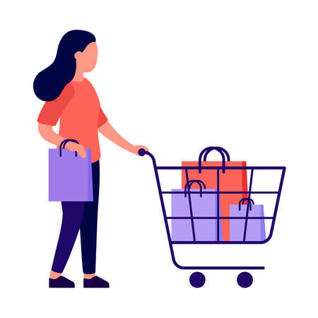 Young woman with shopping cart. Purchase of goods shop. Woman buys groceries in store. Basket for buyer with bags. Vector flat illustration