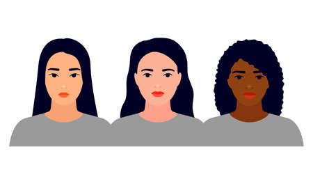 Women different nationalities, asian, white and black skin. Female friendship, union of feminists, sisterhood. Struggle for rights, independence, equality. Concept of females empowerment. Vector