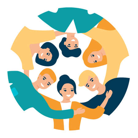 Group of happy people are standing in circle and hugging. Team of men and women. Concept of friendship, communication, business, unity, together. Vector illustration Illustration
