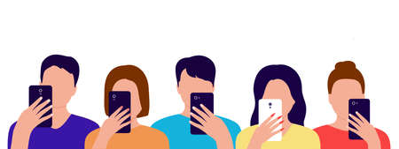 Group of people with mobile phones in their hands. Men and women spend time with smartphone. Internet, online, communication, photo, addiction concept. Vector illustration Illustration