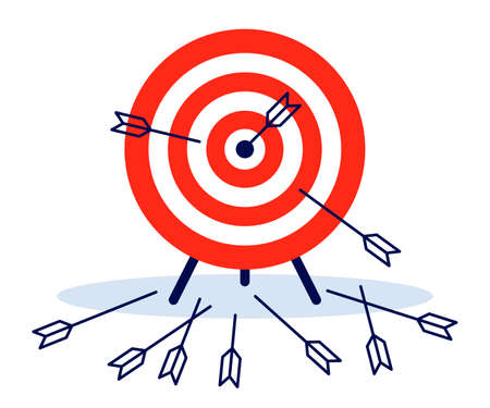 Game dart. Arrows missed hitting target mark and accurate. Multiple failed inaccurate attempts to hit archery target, shot miss. Vector flat illustration Illustration
