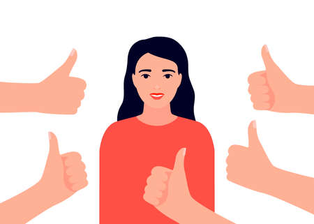 Happy beautiful woman collects like. Smiling girl surrounds hands showing thumbs up. Social approval, positive feedback, acceptance success concept. Vector flat illustration Ilustração