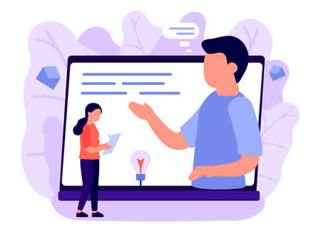 Online consultation of people on a laptop on internet. Video communication on business issues. The assistant records information, secretary. Vector illustration