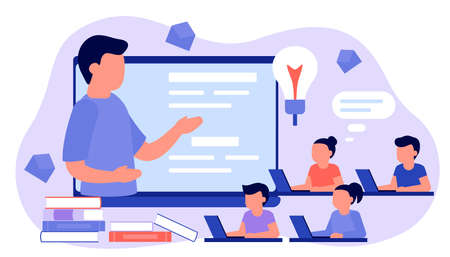 Learn from distance with man teacher, online education. Kids boy and girl is sitting on laptop and studying lesson. Child learns remotely. Home school, web e-learning, knowledge concept. Vector flat Ilustração