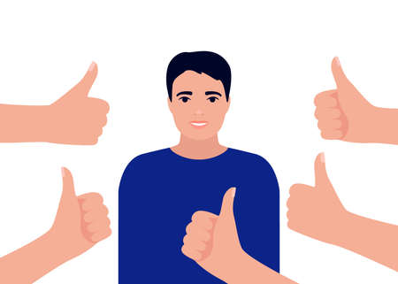 Happy winner man collects like. Smiling male surrounds hands showing thumbs up. Social approval, positive feedback, acceptance success concept. Vector flat illustration Illustration