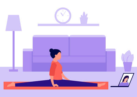 Woman practices yoga at home and watches video on laptop. Do splits. Videoconference in sports, communication. Active leisure at home, doing exercises, health care. Vector illustration