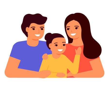 Happy young family mother, father and daughter. Family communication together. Vector flat
