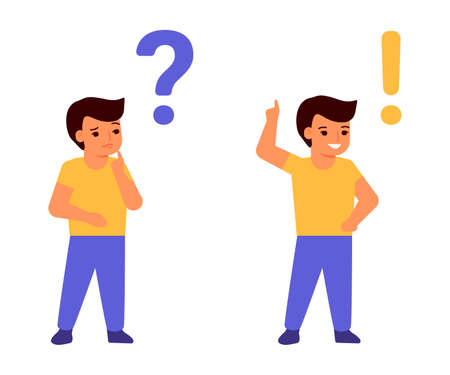 Child thinks, reflects, doubts and decides, finds, comes up with. Question and answer concept. Clever boy, student. Children difficulties. Vector illustration
