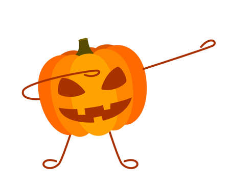 Emotion face pumpkin dab, Halloween. Spooky scary horror facial expressions of pumpkin. Carving. Vector illustration on white background
