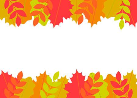 Border autumn leaves. Frame fallen leaves of maple, oak, rowan. Vector