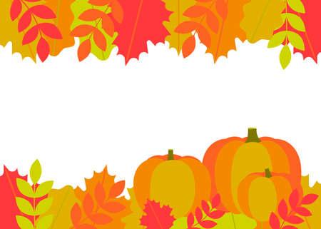 Autumn leaves and pumpkins border frame. Frame fallen leaves of maple, oak, rowan. Space for text. Vector